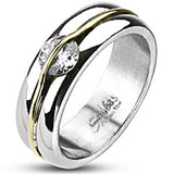 Spikes Womens Stainless Steel 6mm Cubic Zirconia Gold Stripe Band Ring