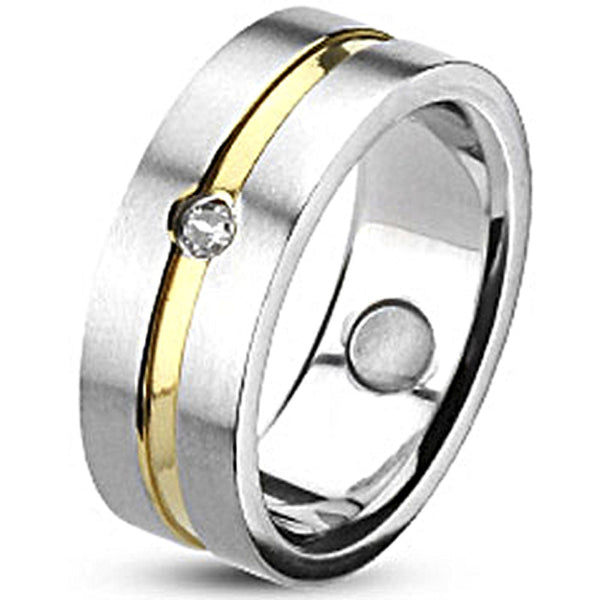 Spikes Brushed Stainless Steel Gold IP Cubic Zirconia Band Ring