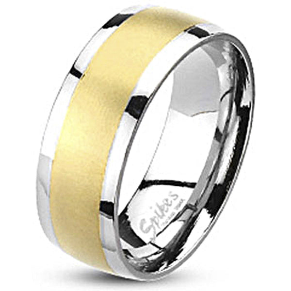 Spikes Stainless Steel Brushed Gold IP Band Ring