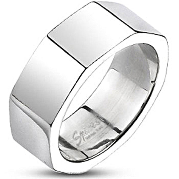 Spikes Mens Stainless Steel 8mm Octagonal Band Ring