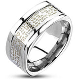 Spikes Stainless Steel Spanish Lords Prayer 9mm Square Band Ring