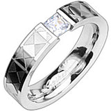 Spikes Womens Stainless Steel Checker Engraved Princess Cut Cubic Zirconia 5mm Band Ring