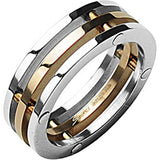 Spikes Womens Stainless Steel Rose Gold IP 8mm Trio Band Ring