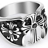 Spikes Mens Stainless Steel Black Gem Medieval Cross Ring