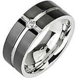 Spikes Womens Stainless Steel 6mm Layered Black IP Cubic Zirconia Band Ring