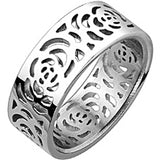 Spikes Womens Stainless Steel Rose Patterned Band Ring