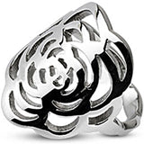 Spikes Stainless Steel Two-tone Rose Design Ring