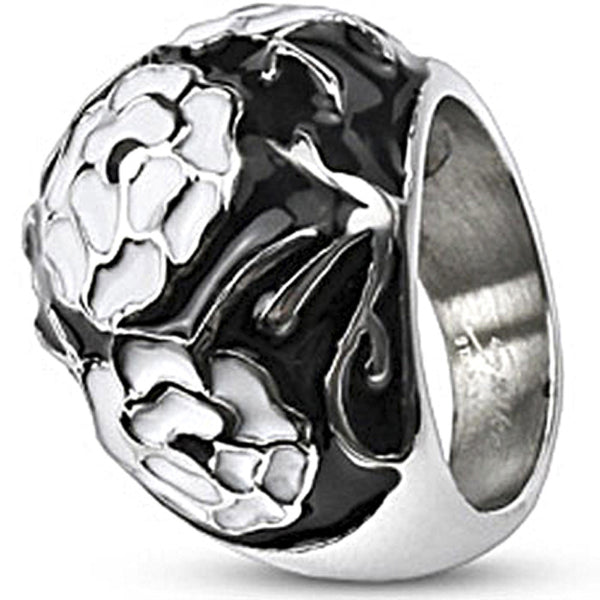 Spikes Womens Stainless Steel White  Black Enamel Coated Bubble Ring