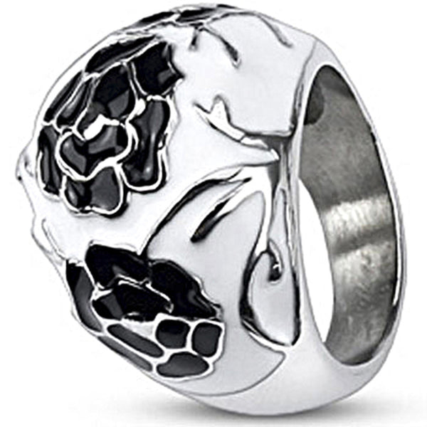 Spikes Womens Stainless Steel Black White Enamel Coated Bubble Ring