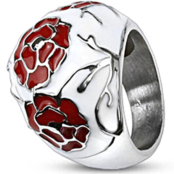 Spikes Womens Stainless Steel Black Red Enamel Coated Bubble Ring