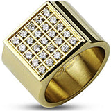 Spikes Mens Stainless Steel Gold IP Square Plate Multi Cubic Zirconia Wide Band Ring