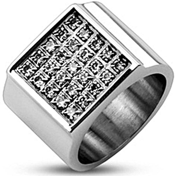 Spikes Mens Stainless Steel  Square Plate Multi Cubic Zirconia Wide Band Ring