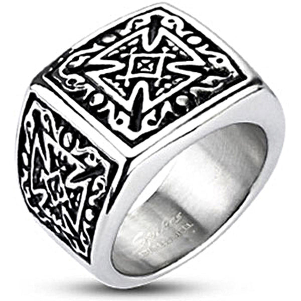Spikes Mens Stainless Steel Tribal Celtic Cross 16mm Wide Band Ring