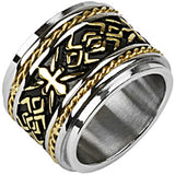 Spikes Mens Stainless Steel Tribal Gold IP Cross Wide Band Ring