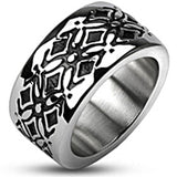 Spikes Mens Stainless Steel Cross Pattern Cast Band Ring