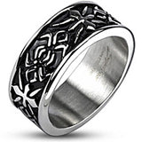 Spikes Mens Stainless Steel Tribal Pattern Cast Ring