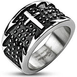 Spikes Mens Stainless Steel Jagged Cross Black Enamel Band Ring