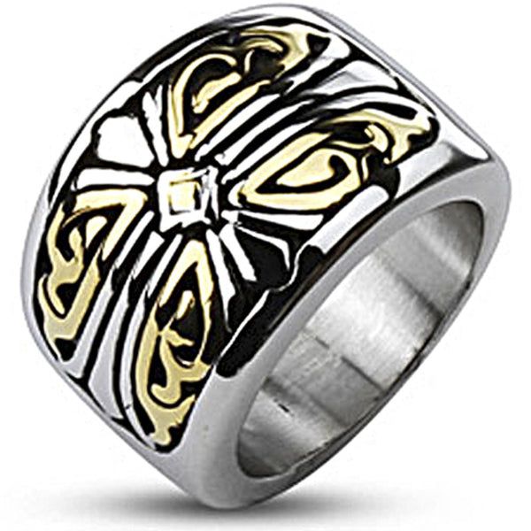 Spikes Mens Stainless Steel Two-tone Gold IP Royal Cross Band Ring