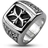 Spikes Mens Stainless Steel Tribal Cross Black Enamel Cast Band Ring