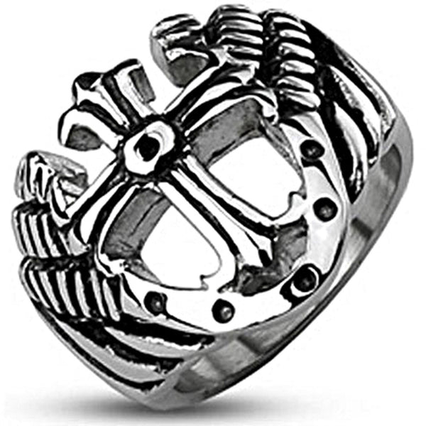 Spikes Mens Stainless Steel Royal Cross Shield Band Ring