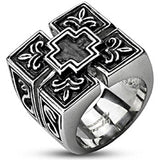 Spikes Mens Stainless Steel Four Shield Cross Wide Band Ring