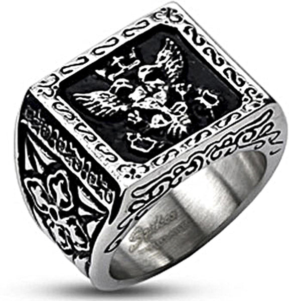 Spikes Mens Stainless Steel Royal Empire Cast Band Ring