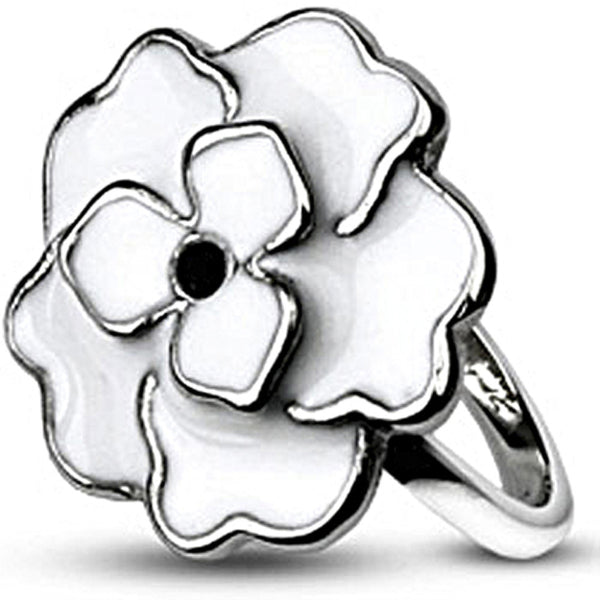 Spikes Womens Stainless Steel White Enamel Rose Ring