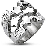 Spikes Mens Stainless Steel Winged Cross Cubic Zirconia Band Ring