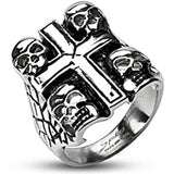 Spikes Mens Stainless Steel Death Skull Cross Ring