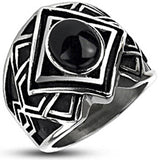 Spikes Mens Stainless Steel Tribal Cast Onyx Band Ring