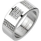 Spikes Mens Stainless Steel Micro-Paved Multi Cubic Zirconia Band Ring