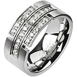 Spikes Mens Brushed Stainless Steel Multi Cubic Zirconia Strips Band Ring