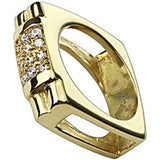 Spikes Mens Stainless Steel Gold IP Cubic Zirconia Paved Square Ring