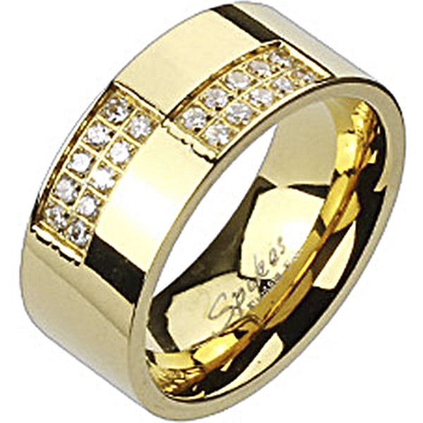 Spikes Stainless Steel Gold IP Micro Paved Cubic Zirconia Band Ring
