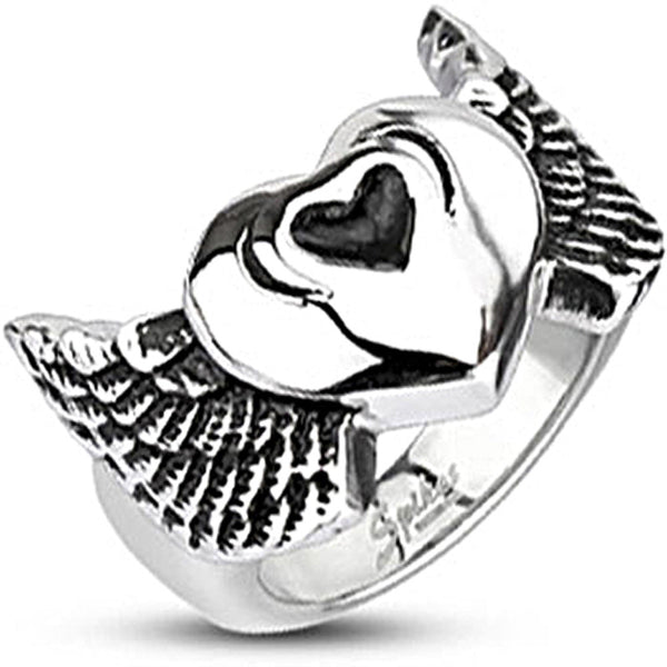 Spikes Mens Stainless Steel Winged Heart 20mm Wide Cast Ring