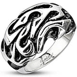 Spikes Mens Stainless Steel Tribal 13.5mm Cast Ring
