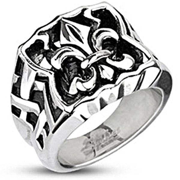 Spikes Mens Stainless Steel Fleur De Lis 17mm Wide Cast Ring