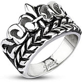 Spikes Mens Stainless Steel Fleur De Lis Vine  15mm Wide Cast Ring