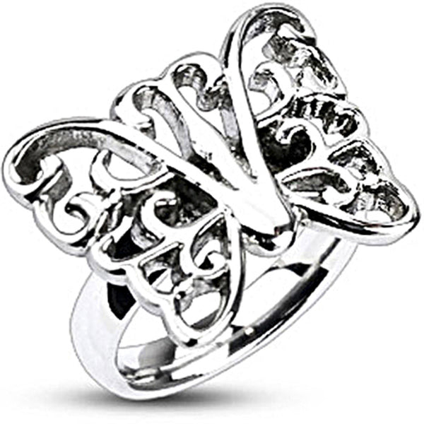 Spikes Womens Stainless Steel Ornamental Butterfly 18mm Cast Ring