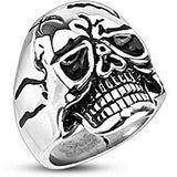 Spikes Mens Stainless Steel 25mm Cracked Death Skull Biker Ring