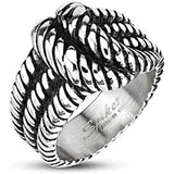 Spikes Mens Stainless Steel 16mm Rope Knot Cast Ring