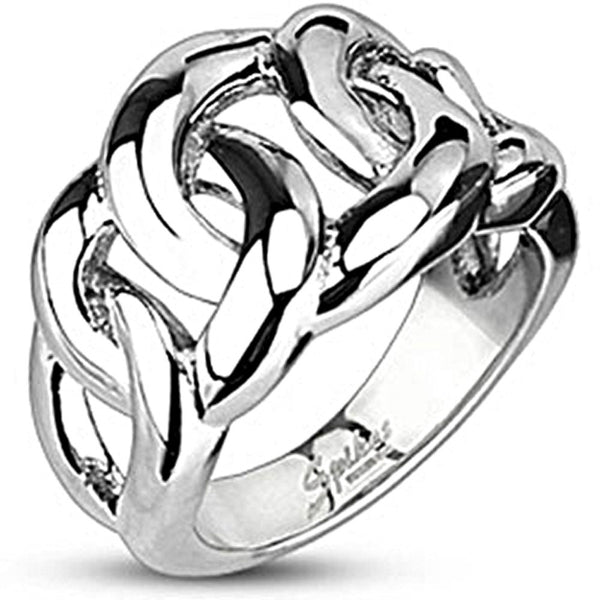 Spikes Mens Stainless Steel 15mm Eternal Chain Cast Ring