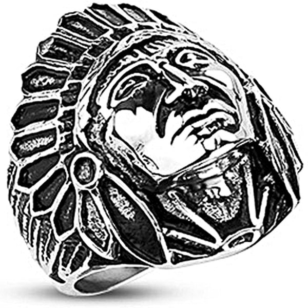Spikes Mens Stainless Steel 27mm  Apache Chief Wide Cast Ring