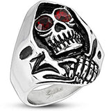 Spikes Mens Stainless Steel 26mm Grim Reaper Wide Cast Ring