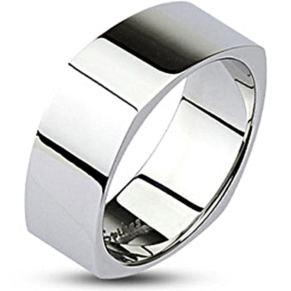 Spikes Stainless Steel Mirror Polished Square Band Ring