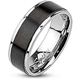 Spikes Mens Stainless Steel Brushed Black IP Band Ring