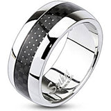 Spikes Stainless Steel Carbon Inlay Dome Band Ring