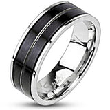 Spikes Mens Stainless Steel  Black IP Striped Band Ring