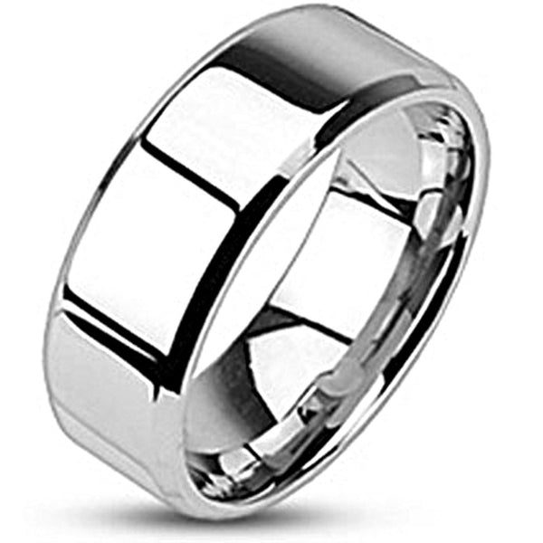 Spikes Stainless Steel Mirror Polish Beveled Edge Band Ring