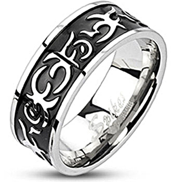 Spikes Mens Stainless Steel Tribal Cat Black IP Band Ring